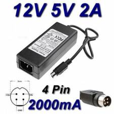 Power Supply Adaptor model HWXY-12.0/5.0-2000 12V 5V 2000mA 4 Pin Din