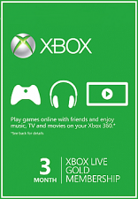 XBox Live 3 Month Gold Membership Card (Serial Only)
