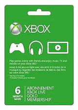 XBox Live 6 Month Gold Membership Card (Serial Only)